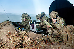 Soldiers of the 1st Artillery Brigade use the latest computer and communications technology to achieve their training objectives in exercise Steel Sabre. Inside High tech dome simulators troops see the Otterburn training area projected onto the walls allowing for simulated sections of the scenario to be fully integrated with the real life training going on outside Steel Sabre is a large Scale military live fire exercise on Otterburn Training Area It involves 1400 troops the majority from the Royal Artillery 1st Artillery Brigade. The exercise brings all the components of an Artillery group together in a realistic scenario to train in delivering firepower on the battlefield.<br /> <br />   02 March 2017 <br />   Copyright Paul David Drabble<br />   www.pauldaviddrabble.co.uk