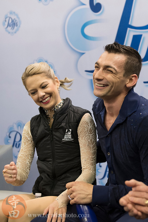 January 4, 2018; San Jose, CA, USA; Alexa Scimeca-Knierim and Christopher Knierim smile in the kiss and cry after skating in the pairs short program during the 2018 U.S. Figure Skating Championships at SAP Center.