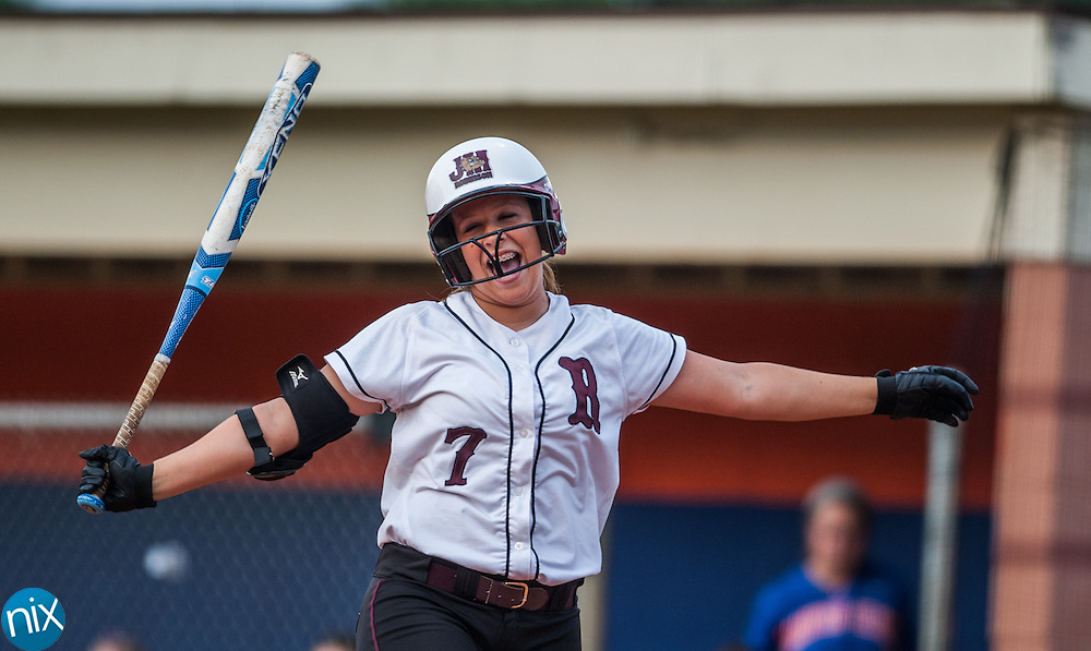 Jay M. Robinson Krista Romine laughs while at the plate against Marvin Ridge Tuesday night during the fourth-round game of the NCHSAA softball playoffs. Robinson won the game 3-2 to advance to the the regional round.
