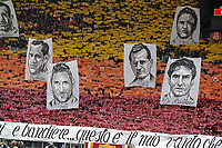 Coreografia tifosi Roma con i ritratti dei capitani della squadra. AS Roma supporters show banner with portraits of team history captains <br /> Roma 11-01-2015 Stadio Olimpico, Football Calcio Serie A AS Roma - Lazio . Foto Andrea Staccioli / Insidefoto