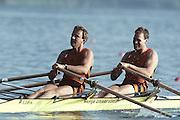 Barcelona Olympics 1992 - Lake Banyoles, SPAIN, NED M2X Bronze medallist, ZWOLLE Hendrik Jan  RIENKS Nico stroke.Photo: Peter Spurrier