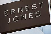 Sign for jewellery shop Ernest Jones.