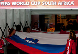 Slovenian flag during the 2010 FIFA World Cup South Africa Group C Third Round match between Slovenia and England on June 23, 2010 at Nelson Mandela Bay Stadium, Port Elizabeth, South Africa. England defeated Slovenia 1-0 and qualified for the next round, Slovenia not. (Photo by Vid Ponikvar / Sportida)