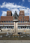 Norwegian city hall in Olso, Norway. This building started construction in 1931 but was postponed because of World War II. It was designed by Arnstein Arneberg