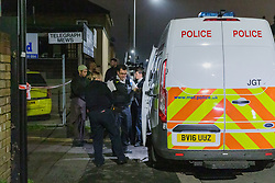 © Licensed to London News Pictures. 10/05/2019. London, UK.  Police outside Seven Kings Mosque in east London, where it has been reported that a gun was fired by a masked gunman.  Photo credit: Vickie Flores/LNP