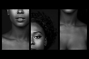 Fashion and Beauty Photographer Raymond Rudolph creates triptic of model and makeup artist Tiffany Fraser during a studio photoshoot in San Francisco