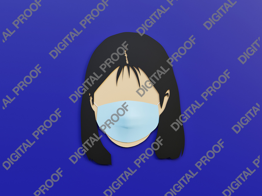 Woman wearing medical mask as protection in Phantom Blue background with minimalist concept - 3D Rendering Concept