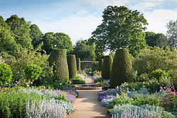 Path through the rose garden at Mottisfont with fountain and yew topiary pillars