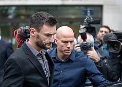 © Licensed to London News Pictures. 12/09/2018. London, UK. Tottenham Hotspur Captain and French international goalkeeper Hugo Lloris leaves Westminster Magistrates Court after pleading guilty to drink driving after he was stopped by police on 24 August. Photo credit: Peter Macdiarmid/LNP