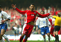 Photo: Scott Heavey<br />Wales V Azerbaijan. 29/03/03.<br />Ryan Giggs celebrates his first and Wales' fourth during this afternoons Euro 2004 Group 9 qualifying match at the Millenium stadium in Cardiff.