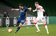 Pablo Mari of Arsenal with Dundalk's Michael Duffy during the Europa League Group B match between Dundalk and Arsenal at Aviva Stadium, Dublin, Republic of Ireland on 10 December 2020.