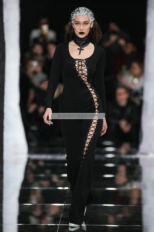 Bella Hadid walks the runway wearing PUMA x FENTY by Rihanna Fall 2016 during New York Fashion Week on February 12, 2016