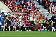 Swindon Town manager Paolo Di Canio reacts from the dugout. NPower league one, Swindon Town v Leyton Orient at the County Ground in Swindon on Saturday 8th Sept 2012.  pic by  Andrew Orchard, Andrew Orchard sports photography,