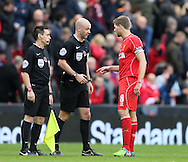 Steven Gerrard of Liverpool confronts referee Anthony Taylor - Barclays Premier League - Liverpool vs Chelsea - Anfield Stadium - Liverpool - England - 8th November 2014  - Picture Simon Bellis/Sportimage