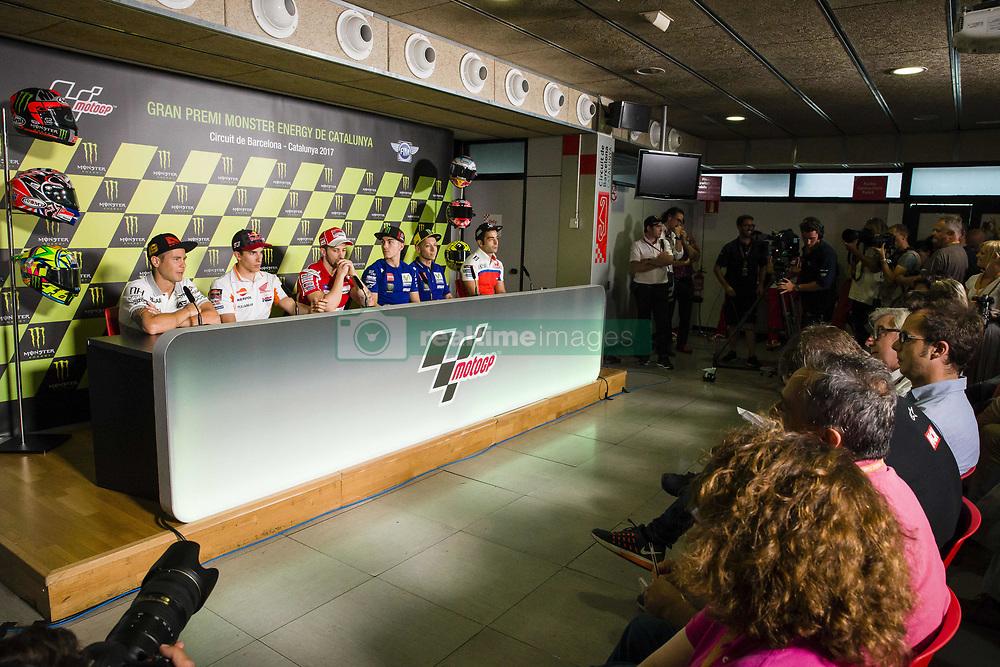 June 8, 2017 - Barcelona, Spain - MotoGP, Alvaro Bautista(Spa), Pull&Bear Aspar Team, Marc Marquez(Spa), Repsol Honda Team, Andrea Dovizioso(Ita), Ducati Team, Maverick Vinales(Spa), Movistar Yamaha Motogp Team, Valentino Rossi(Ita), Danilo Petrucci(Ita), Octo Pramac Racing Team during the press conference of MotoGp Grand Prix Monster Energy of Catalunya, in Barcelona-Catalunya Circuit, Barcelona on 8th June 2017 in Barcelona, Spain. (Credit Image: © Urbanandsport/NurPhoto via ZUMA Press)