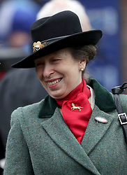 Princess Anne during St Patrick's Thursday of the 2017 Cheltenham Festival at Cheltenham Racecourse. PRESS ASSOCIATION Photo. Picture date: Thursday March 16, 2017. See PA story RACING Cheltenham. Photo credit should read: David Davies/PA Wire. RESTRICTIONS: Editorial Use only, commercial use is subject to prior permission from The Jockey Club/Cheltenham Racecourse.