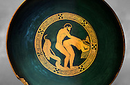 Greek Attica pottery plate with erotic depiction of a man and women, 5th century BC, Secret Museum or Secret Cabinet, Naples National Archaeological Museum , grey art background .<br /> <br /> If you prefer to buy from our ALAMY PHOTO LIBRARY  Collection visit : https://www.alamy.com/portfolio/paul-williams-funkystock - Scroll down and type - Roman Art Erotic  - into LOWER search box. {TIP - Refine search by adding a background colour as well}.<br /> <br /> Visit our ROMAN ART & HISTORIC SITES PHOTO COLLECTIONS for more photos to download or buy as wall art prints https://funkystock.photoshelter.com/gallery-collection/The-Romans-Art-Artefacts-Antiquities-Historic-Sites-Pictures-Images/C0000r2uLJJo9_s0
