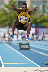 August 12, 2018 - Toronto, ON, U.S. - TORONTO, ON - AUGUST 12: Ramone Bailey (Jamaica), bronze in long jump at the 2018 North America, Central America, and Caribbean Athletics Association (NACAC) Track and Field Championships on August 12, 2018 held at Varsity Stadium, Toronto, Canada. (Photo by Sean Burges / Icon Sportswire) (Credit Image: © Sean Burges/Icon SMI via ZUMA Press)