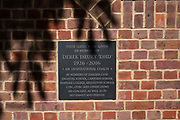 Henley on Thames, United Kingdom, 23rd June 2018, Saturday,   Leander Club's new, Brick wall and commemorative plaque  Bi centenary entrance, Henley Reach, River Thames, England, © Peter SPURRIER/Alamy Live News