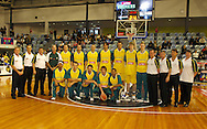 Australia Post Boomers Team line up for team shot before game,Ramsay Shield, Australia Post Boomers v New Zealand, Game 2, 2008.  Played at the State Netball & Hockey Centre. Australian Post Boomers defeated New Zealand. .Photo: Joel Strickland / SMP Images.Use information: This image is intended for Editorial use only (e.g. news or commentary, print or electronic). Any commercial or promotional use requires additional clearance.
