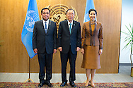 Prime Minister of Thailand, General Prayuth Chan-ocha and his wife, Naraporn Chan-ocha, pose for a photo,with United Nations Secretary General, Ban Ki moon.