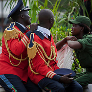 Musicians of the national anthem that was created in 2011 which lyrics are as follow: Oh God!<br /> <br /> We praise and glorify you<br /> <br /> For your grace on South Sudan<br /> <br /> Land of great abundance<br /> <br /> Uphold us united in peace and harmony<br /> <br /> Oh motherland!<br /> <br /> We rise raising flag with the guiding star<br /> <br /> And sing songs of freedom with joy<br /> <br /> For justice, liberty and prosperity<br /> <br /> Shall forevermore reign<br /> <br /> Oh great patriots!<br /> <br /> Let us stand up in silence and respect<br /> <br /> Saluting our martyrs whose blood<br /> <br /> Cemented our national foundation<br /> <br /> We vow to protect our nation<br /> <br /> Oh God, bless South Sudan! <br /> <br /> <br /> <br /> South Sudan celebrates its 2nd anniversary after gaining independence from Sudan in 2011, following over 30 years of conflict. <br /> <br /> South Sudan and Sudan's relations are still tense due to oil export issues