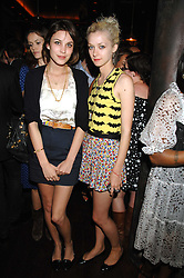 Left to right, ALEXA CHUNG and PORTIA FREEMAN at a party hosted by Belvedere Vodka and Jade Jagger to launch The Belvedere Jagger Dagger cocktail held at Automat, Berkeley Street, London on 8th May 2008.<br />
