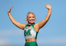 Oct 9, 2021; Huntington, West Virginia, USA; A Marshall Thundering Herd cheerleader performs during the third quarter against the Old Dominion Monarchs at Joan C. Edwards Stadium. Mandatory Credit: Ben Queen-USA TODAY Sports
