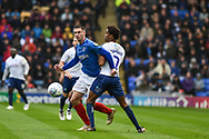 Portsmouth Forward, Oliver Hawkins (9) wins the ball during the EFL Sky Bet League 1 match between Portsmouth and Wycombe Wanderers at Fratton Park, Portsmouth, England on 22 September 2018.
