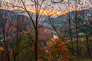 A curtain of trees, View to the river and sunset.