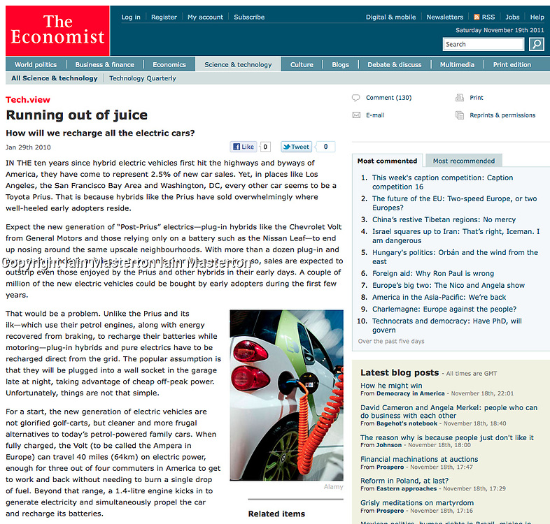 Tearsheet from The Economist; Electric car