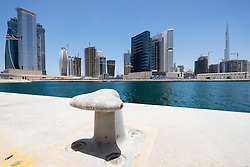 View of waterfront at new property development beside The Creek at Business Bay in Dubai United Arab Emirates