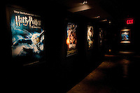 """Various movie posters at the """"Harry Potter"""" exhibition at Discovery Times in New York. ..Photo by Robert Caplin."""