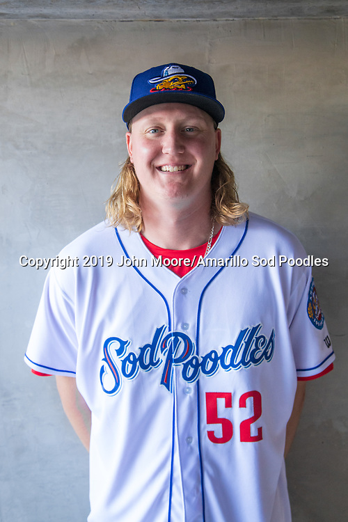 Amarillo Sod Poodles pitcher Trey Wingenter (52) before the game against the Arkansas Travelers on Saturday, Aug. 31, 2019, at HODGETOWN in Amarillo, Texas. [Photo by John Moore/Amarillo Sod Poodles]