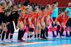 06-12-2019 JAP: Norway - Netherlands, Kumamoto<br /> Last match groep A at 24th IHF Women's Handball World Championship. / The Dutch handball players won in an exciting game of fear gegner Norway and wrote in the last group match at the World Handball  World Championship history (30-28). / Team Netherlands celebrate