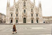 Milan, empty  Piazza del Duomo