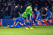 Gillingham FC midfielder Elliott List (15) scores a goal (1-0) and celebrates with team mates during the The FA Cup 3rd round match between Gillingham and Cardiff City at the MEMS Priestfield Stadium, Gillingham, England on 5 January 2019. Photo by Martin Cole.