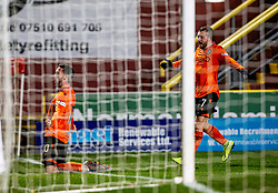 Dundee United's Nicky Clark oele scoring their third goal. Dundee United 4 v 0 Ayr United, Scottish Championship game played 21/12/2019 at Dundee United's stadium Tannadice Park.