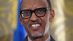 October 10, 2018 - Yerevan, Armenia - Rwandan President Paul Kagame looks on as he meets with Premier-designate of Quebec Francois Legault in Yerevan, Armenia, on Wednesday, Oct. 10, 2018. THE CANADIAN PRESS/Sean Kilpatrick (Credit Image: © Sean Kilpatrick/The Canadian Press via ZUMA Press)