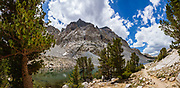 Loch Leven Lake, Piute Pass Trail, John Muir Wilderness, Sierra Nevada, Inyo National Forest, Mono County, California, USA. Piute is 9.7 miles round trip with 2200 ft gain. Multiple overlapping photos were stitched to make this panorama.