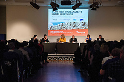 Pictured:Nicola Sturgeon, Kezia Dugdale, Ruth Davidson, Willie Rennie, Patrick Harvie and chair Louise White<br /> <br /> Party leaders Nicola Sturgeon, Kezia Dugdale, Ruth Davidson, Willie Rennie and Patrick Harvie faced questions from the public at an LGBTI election hustings event arranged by Stonewall Scotland, LGBT youth Scotland, Equaity Network and The Scottish Equality Network at the Royal College of Surgeons of Edinburgh. Edinburgh. 31 March 2016<br /> <br /> Ger Harley   Edinburghelitemedia.co.uk