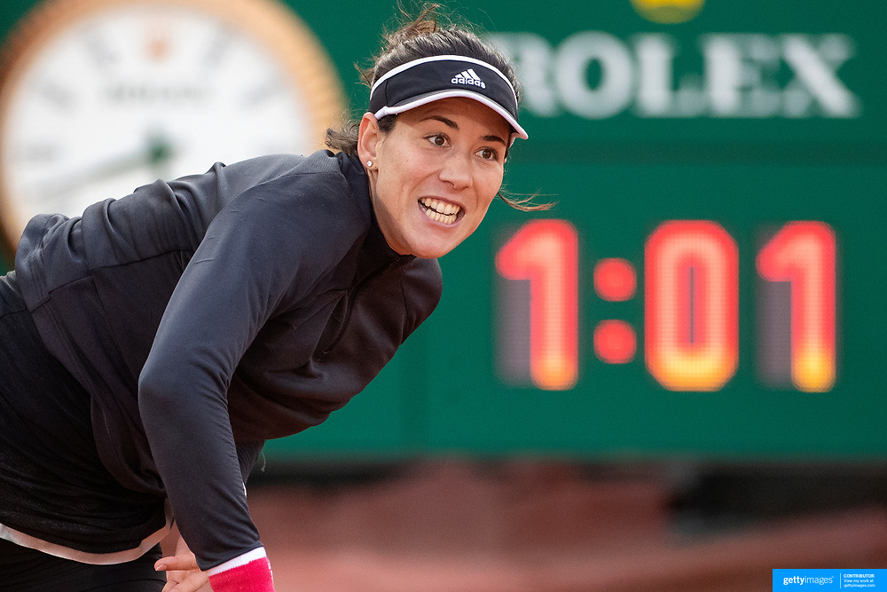 PARIS, FRANCE October 01. Garbine Muguruza of Spain in action against Kristyna Pliskova of the Czech Republic in the second round of the singles competition on Court Suzanne Lenglen during the French Open Tennis Tournament at Roland Garros on October 1st 2020 in Paris, France. (Photo by Tim Clayton/Corbis via Getty Images)