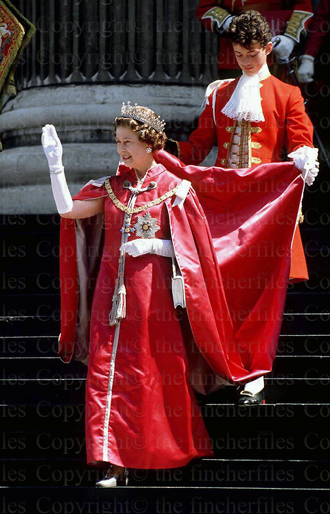 Queen Elizabeth seen leaving St.Paul's Cathedral, London in May 1988 after attending the service for members of the order of the British Empire. Photographed by Jayne Fincher