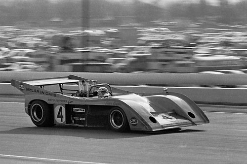 Peter Revson, defending Can-Am champion, in his McLaren M20-Chevy at the 1972 Riverside Can-Am; Photo by Pete Lyons 1972/ © Pete Lyons / petelyons.com