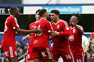 Birmingham City players celebrate a goal from Birmingham City forward Che Adams (14) (score 0-1) during the EFL Sky Bet Championship match between Queens Park Rangers and Birmingham City at the Loftus Road Stadium, London, England on 28 April 2018. Picture by Andy Walter.