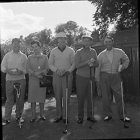 Bing Crosby was a regular visitor to Ireland. An avid golfer, he is pictured here at a charity golf tournament at Woodbrook, Co. Wicklow.<br /> <br /> 15th September 1961<br /> <br /> 15/09/1961