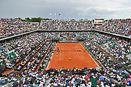Philippe Chartrier court during the mens singles third round of the Roland Garros Tennis Open 2017 at Roland Garros Stadium, Paris, France on 2 June 2017. Photo by Jon Bromley.
