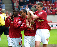 Photo: Dave Linney.<br />Walsall v Barnsley. Coca Cola League 1. 06/05/2006.<br />Walsall's Dean Keates(Second from right) celebrates after making it 1-1