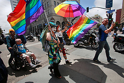 June 11, 2017 - San Diego, California, USA - On Sunday, thousands of San Diegans, including members of the Sisters of Perpetual Indulgence, marched from Balboa Park down Broadway to the county administration building in solidarity with other Equality Marches happening across the country to memorialize those killed one year ago Monday, June 12, at the Pulse night club in Orlando, Florida. The marches called for equal rights for LGBTQ members of society, and opposed many of the policies held by President Donald Trump and members of his cabinet. (Credit Image: © Peggy Peattie via ZUMA Wire)