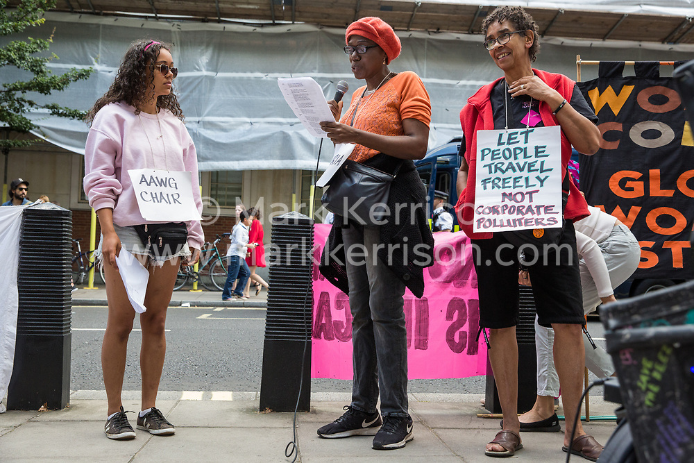 London, UK. 29 July, 2019. Activists from Reclaim the Power, All African Women's Group, Docs Not Cops, Lesbians and Gays Support the Migrants and other groups protest outside the Home Office to demand an end to the Government's 'hostile environment' policies. Credit: Mark Kerrison/Reclaim The Power